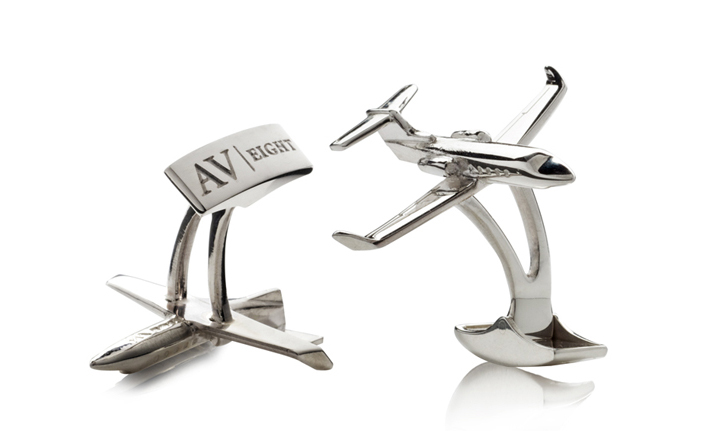 Silver Plane Shaped Luxury Cufflinks - Jewellery Photography